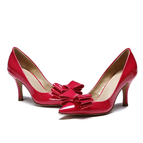 Kevin Fashion kf151005 Ladies Lovely Bowknot Zapatos de bombas de charol primavera vestido Red