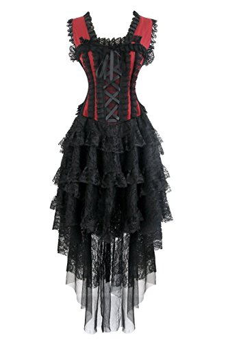 Kimring Women's Vintage Burlesque Victorian Steampunk Corset Dress Halloween Cancan Saloon Showgirl Costume Black/Red Medium