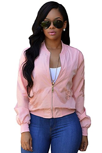 OUR WINGS Women Pink Pocket Sleeve Cropped Bomber Jacket M (Pink Ladies Jacket Plus Size)