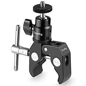 SMALLRIG Super Clamp Mount with Mini Ball Head Mount Hot Shoe Adapter with 14 Screw for LCD Field monitor