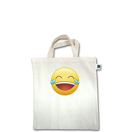 Statement Shirts - Tränen Lachen - Emoji - Unisize - Natural - XT500 - Fairtrade Henkeltasche / Jutebeutel mit kurzen Henkeln aus Bio-Baumwolle