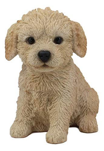 Ebros Realistic Adorable Sitting Labradoodle Puppy Statue 6.5