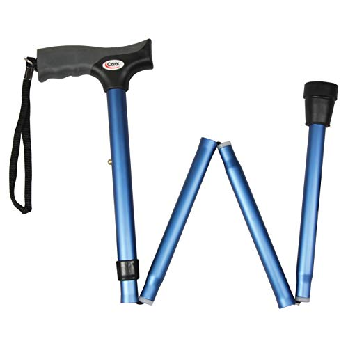 Cane Soft Metal - Carex Soft Grip Folding Cane - Foldable Walking Cane For Women and Men - Adjustable Height (33