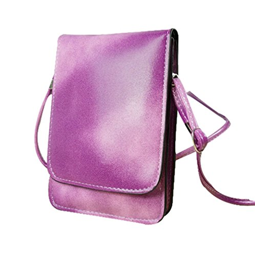 Dreams Mall(TM)Simple Style Universal Leather Mobile Phone Bag & Pouch & Purse for iPhone 6/Plus 5/5S/5C iPhone 4/4s Samsung Galaxy Note 2/3/4 Samsung Galaxy S6 S5 S4 S3 And All Other Kinds of Mobile Phones-Fuchsia
