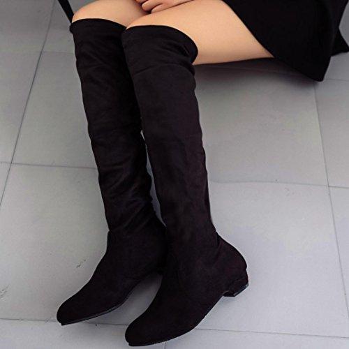 Transer® Damen Mode Keilabsatz Stiefel & Stiefeletten Casual Wildleder+Kunststoff Schuh Kurz Stiefel Schwarz