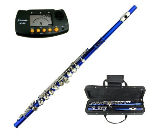 BLUE LACQUER PLATED FLUTE KEY OF C WITH CASE + FREE MERANO METRO TUNER
