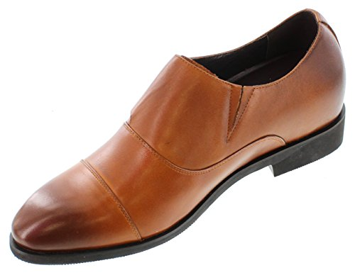 Toto-x70109-7,6cm Grande Taille-Hauteur Augmenter Chaussures ascenseur (en cuir marron à enfiler Cap-toe)