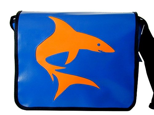 Umhängetasche Tiermotiv Hai Orange H 23, B 30, T 10
