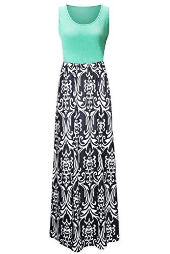 Zattcas Womens Summer Contrast Sleeveless Tank Top Floral Print Maxi Dress