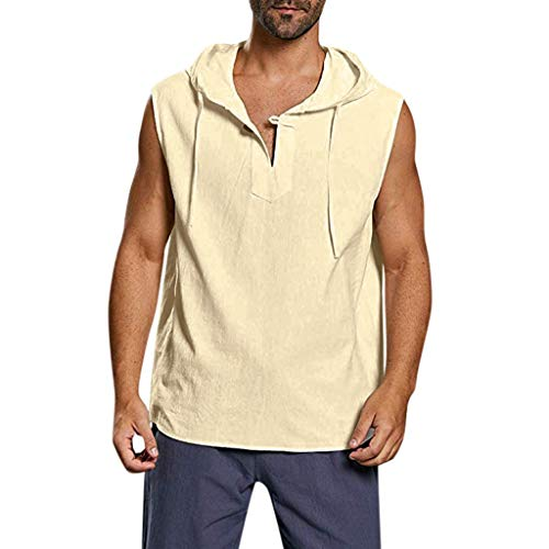 - Chiccc 2019 New Men's Blouse Men's Baggy Cotton Linen Solid Button Beach Sleeveless Hooded Shirt Tank Tops