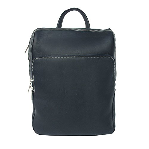Piel Custom Personalized Leather Slim Front Pocket Backpack in Black
