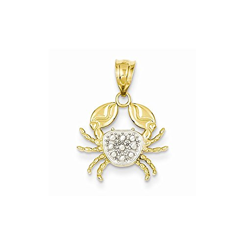 14k & Rhodium Diamond-cut Crab Pendant K4885<BR>Polished | 14K Yellow gold & rhodium | Textured | Diamond Cut ()