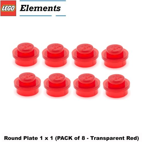 1x8 Lego (Lego Parts: Round Plate 1 x 1 (PACK of 8 - Transparent Red))