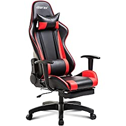Merax Racing Gaming Chair Office Chair Swivel Computer Chair with Footrest (red)