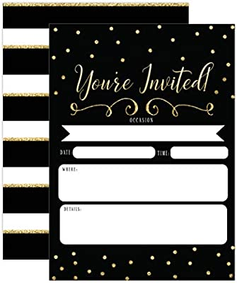 Black And Gold Invitations Surprise Party Elegant Invites For Birthday Wedding Bridal Shower Engagement Bachelorette Party Baby Shower