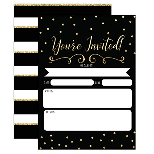 (Black and Gold Invitations, Surprise Party Elegant invites for Birthday, Wedding, Bridal Shower, Engagement, Bachelorette Party, Baby Shower, Reception, Anniversary, Housewarming)