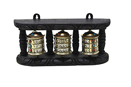 Tibetan Prayer Wheel - TM THAMELMART FOR BEAUTIFUL MINDS 4 Inch Handmade Tibetan Turquoise and Coral Om Mani Wall Hanging Prayer Wheel