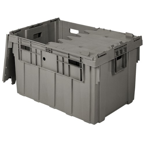 Buckhorn AS3424201201000 Attached Lid Flip Top Storage and Distribution Plastic Tote, 34-Inch x 24-Inch x 20-Inch, Grey ()