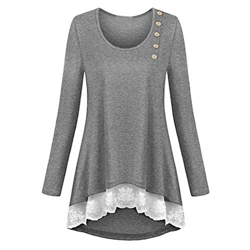 Clearance!Youngh New Womens Blouses Plus Size V-Neck Solid Tunic Lace Loose Long Sleeve Fashion Blouse T Shirt Tops by Youngh Top