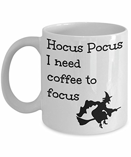 Halloween Coffee Mugs Hocus Pocus I Need Coffee To Focus Witch on Broomstick Funny Cute Gift Present for Men and Women Witches and Warlock ()
