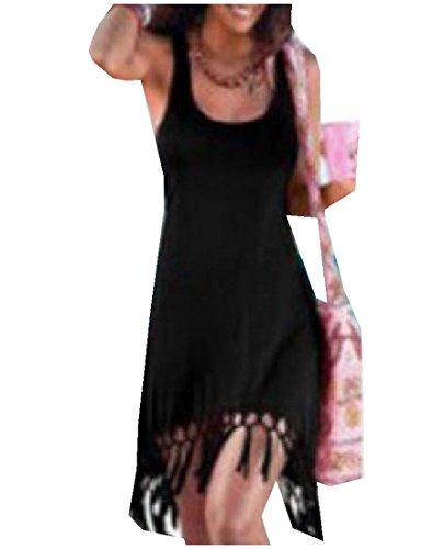 U Coolred Sundress Trend Beach Sling Neck Tassel Black Dress Women's OwPqBxpO7
