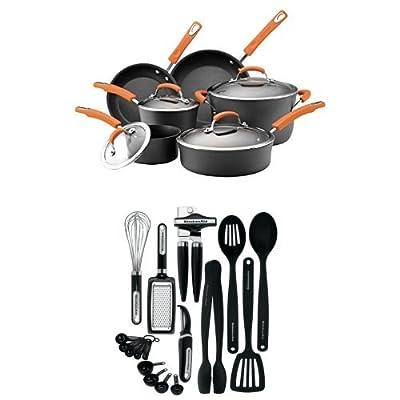 Rachael Ray Hard Anodized II Nonstick Dishwasher Safe 10-Piece Cookware Set (Orange) + 17-Piece Kitchen Tool Set (Black)