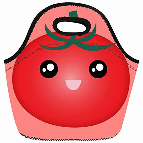 (Ahawoso Reusable Insulated Lunch Tote Bag Print Emoji Lovely Happy Smile Cute Cartoon Tomato Zippered 10X11 Neoprene School Picnic Gourmet Lunchbox)