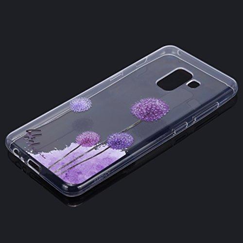 Funda Samsung Galaxy A5 2018, EUWLY Samsung Galaxy A5 2018 Carcasa Transparente Silicona TPU Bumper Case Shock-Absorción Anti-Arañazos Anti-Choques Back Cover Protectora Funda Ultra Slim Crystal Claro Diente de león