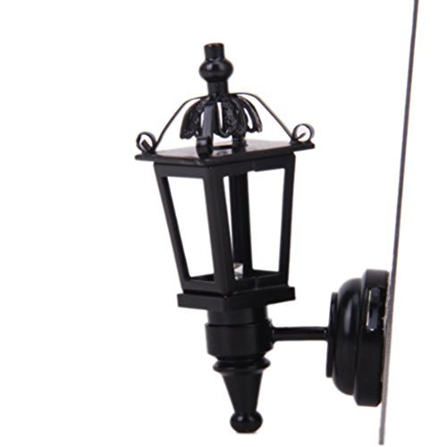 Leorx Vintage DIY Dollhouse 1 12 Dollhouse Miniature LED Wall Light Lamp (Black)