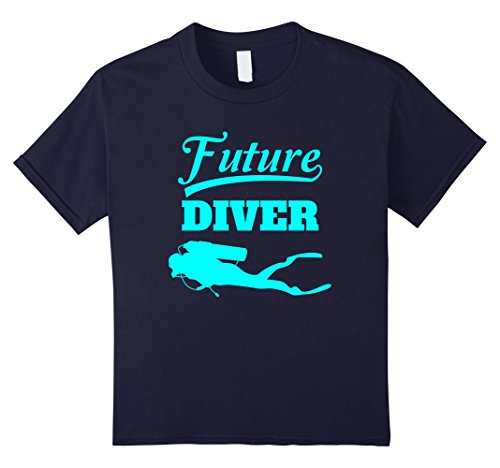 Kids Future Diver Scuba Diving T-Shirt For Kids 8 Navy