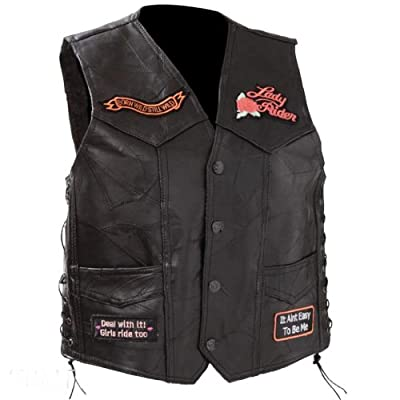 Diamond Plate Womens Leather Motorcycle Vest