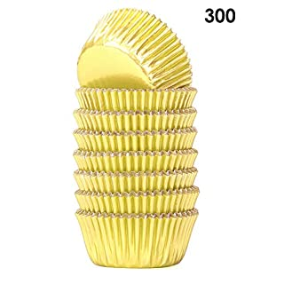Bakuwe Mini Foil Cupcake Liners Gold Muffin Baking Cups, Pack of 300