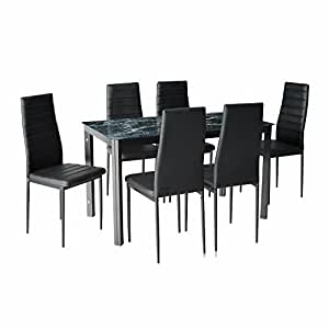IDS Home 7 Piece Home Dining Kitchen Furniture Set with Faux Marble Glass Top Metal Leg and Frame, Black