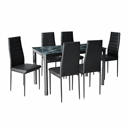 IDS Online MLM-17734 7 Pieces Home Dining Kitchen Furniture Set, with with Faux Marble Glass Top Metal Leg and Frame, Black