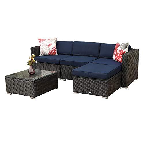 PHI VILLA 5-Piece Outdoor Sectional Sofa Rattan Patio Furniture Set Conversation Set with Ottoman, Blue
