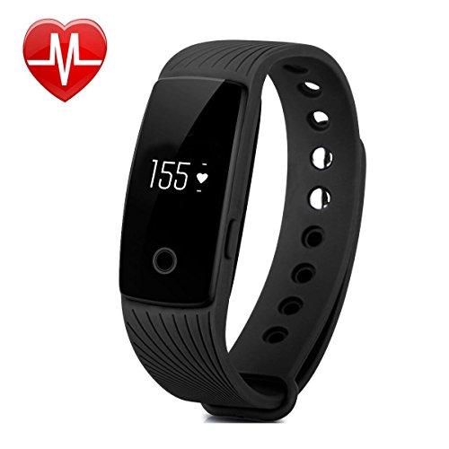 AsiaLONG Aktivitätstracker mit Pulsmesser Bluetooth Fitness Armband Activität Tracker Smart Armband mit Schrittzähler / Schlafanalyse / Kalorienzähler / SMS SNS Vibration Fitness Tracker für Android und IOS (Schwarz)