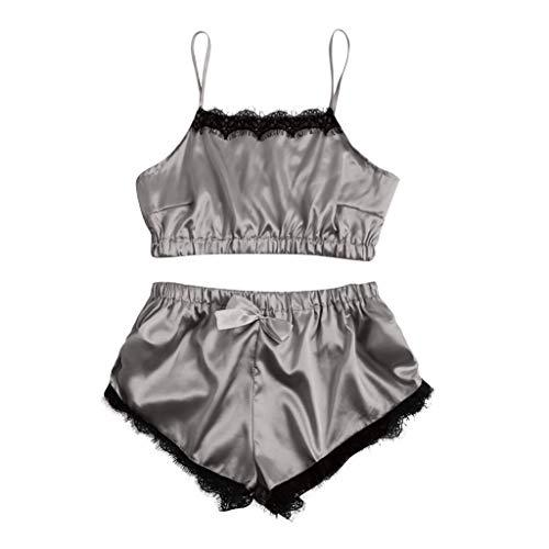 Womens Sexy Satin Sling Sleepwear Lingerie Lace Bowknot Nightwear Underwear Set Gray
