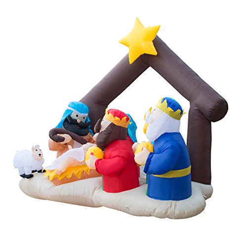 Holidayana Christmas Inflatable Giant 6.5 Ft. Nativity Scene Inflatable Featuring Lighted Interior / Airblown Inflatable Christmas Decoration With Built In Fan And Anchor Ropes by Holidayana (Image #1)