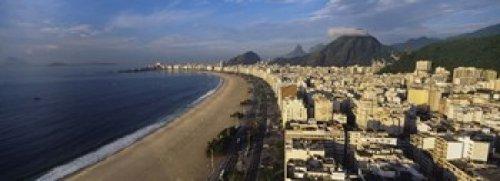 Posterazzi PPI90937L High Angle View Copacabana Beach Rio De Janeiro Brazil Poster Print, 36 x 13