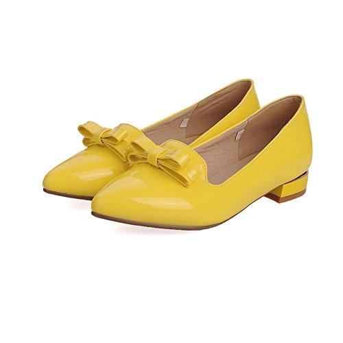 VogueZone009 Damen Rein Lackleder Niedriger Absatz Ziehen auf Spitz Zehe Pumps Schuhe Gelb
