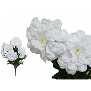 Tableclothsfactory 4 Bushes California Zinnia Artificial Wedding Craft Flowers - White 26