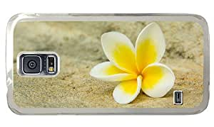 Hipster Samsung Galaxy S5 Case poetic cover white yellow plumeria PC Transparent for Samsung S5