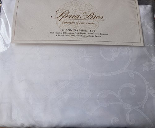 Sferra Bros. Giannina King Sheet Set, Beautiful Cotton Sateen Jacquard, 500 Thread Count, Made in Italy Jacquard 500 Thread