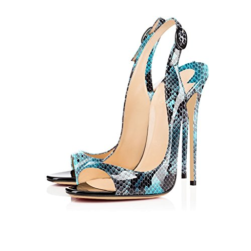 Schuhe mit Blau Peep EDEFS Heels High Zehe Damenschuhe Öffnen Python Stiletto Sandalen Toe 120mm Slingback Schnalle fTqOZ8w