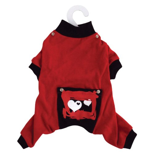 Dogit Style Dog Pyjamas with Heart Pattern, Small, Red, My Pet Supplies