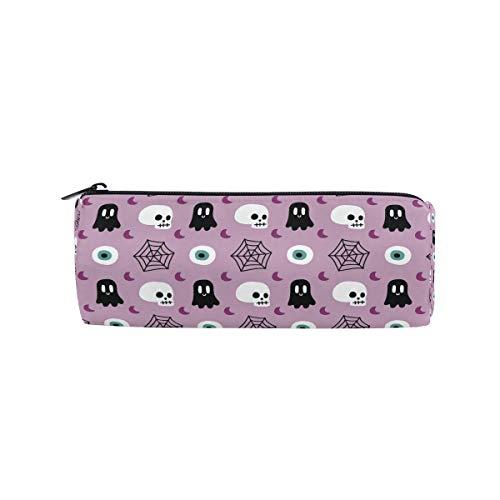 JERECY Halloween Skull Spider Web Pattern Pencil Case Pouch Bag School Stationery Pen Box Zipper Cosmetic Makeup Bag ()