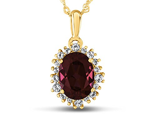 Finejewelers 10k Yellow Gold Oval Created Ruby with White Topaz accent stones Halo Pendant ()