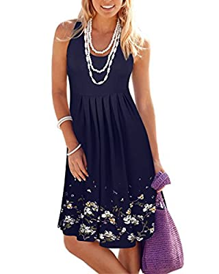 KILIG Summer Casual Loose Print Pleated Sleeveless Vest Dresses