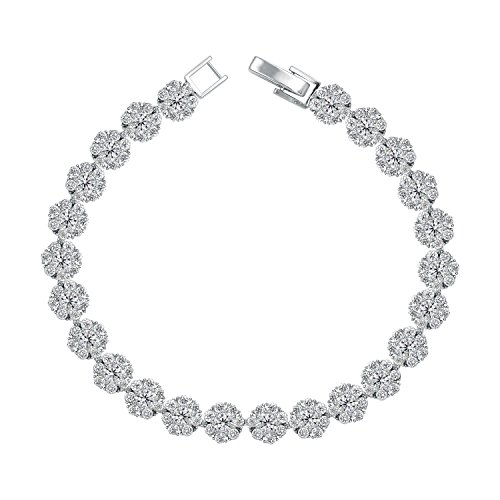 "WeimanJewelry Real Gold Plated Women Cubic Zirconia Flower Tennis Bracelet for Wedding 6.6"" (White gold(6mm)) from WeimanJewelry"