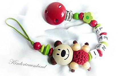 Baby Chupete Cadena con nombres - Teddy, oso, flor, niña ...
